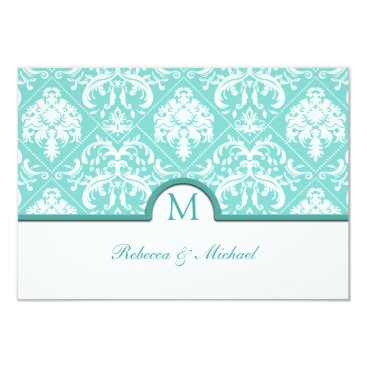Elegant Aqua Blue & White Damask Monogram RSVP Card