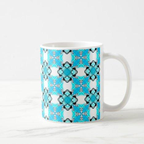 Elegant Aqua Teal Snowflake Blue Diamonds Coffee Mug