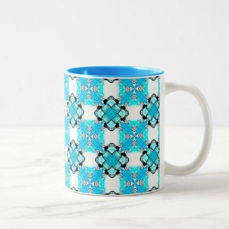 Elegant Aqua Teal Snowflake Blue Diamonds Two-Tone Coffee Mug