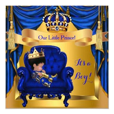 Elegant Baby Shower Boy Prince Royal Blue Gold Card