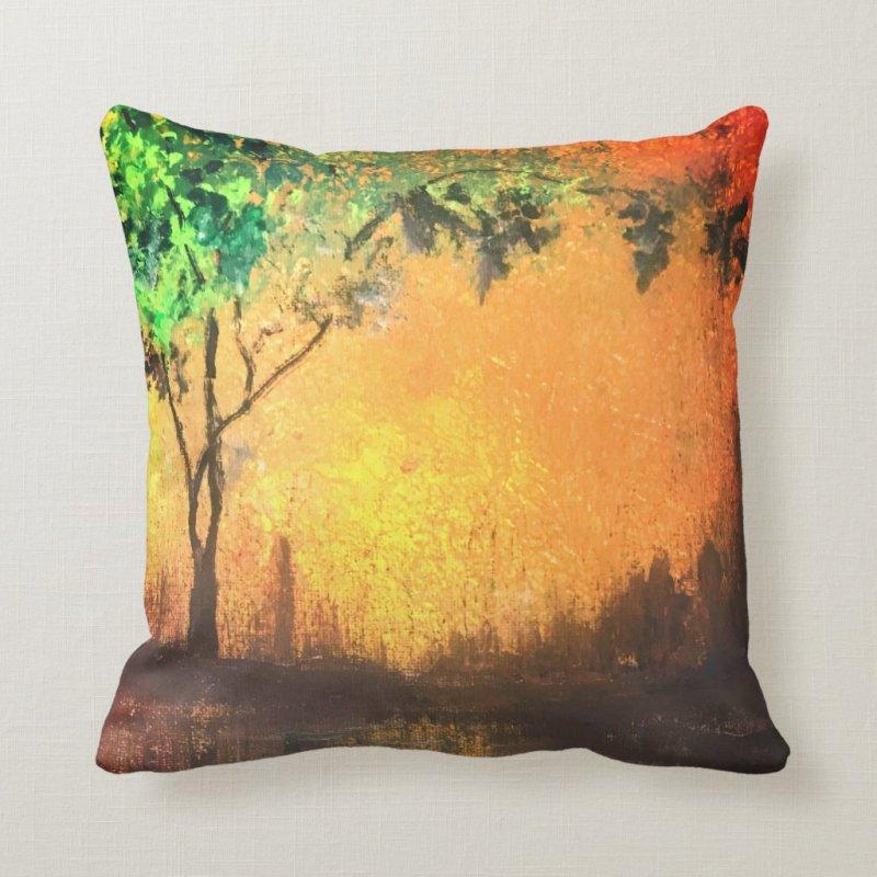 Elegant, Beautiful Golden Sunset Reflection Throw Pillow