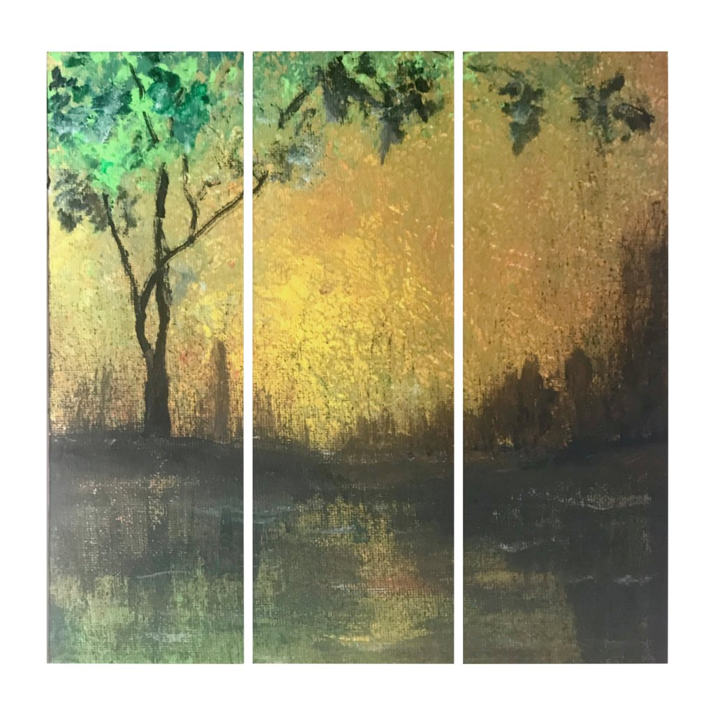 Elegant, Beautiful Golden Sunset Silhouette Triptych
