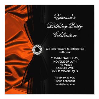 Elegant Birthday Burnt Orange Silk Look Black Card