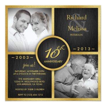 Elegant Black and Gold 10th Wedding Anniversary Card