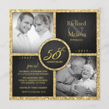 Elegant Black and Gold 50th Wedding Anniversary Invitation