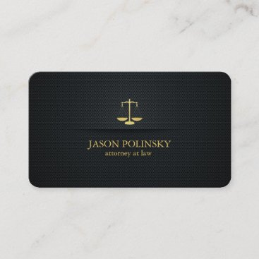 Elegant Black and Gold Attorney At Law Business Card