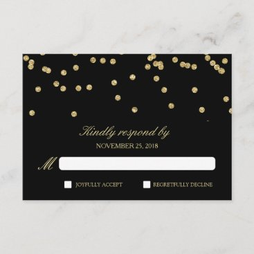 Elegant Black and Gold Confetti Polka-Dots RSVP