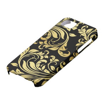 Elegant Black and Gold Damask floral pattern iPhone SE/5/5s Case