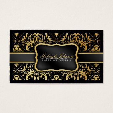 Elegant Black and gold Damask interior designer Business Card