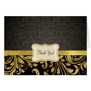 Elegant Black and Gold Damask Thank You Card