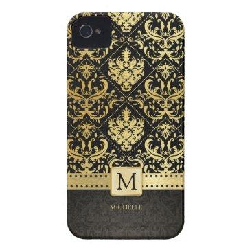 Elegant Black and Gold Damask wiht Monogram Case-Mate iPhone 4 Case
