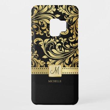 Elegant Black and Gold Damask wiht Monogram Case-Mate Samsung Galaxy S9 Case
