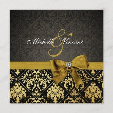 Elegant Black and Gold Damask with heart diamond Invitation