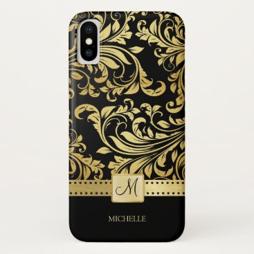 Elegant Black and Gold Damask with Monogram iPhone XS Case