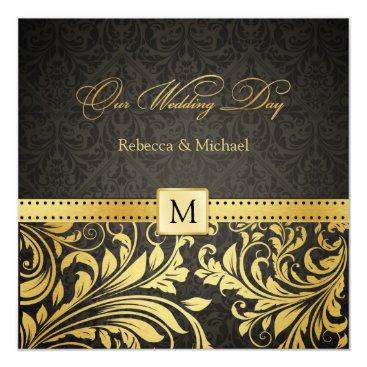 Elegant Black and Gold Damask with Monogram Invitation