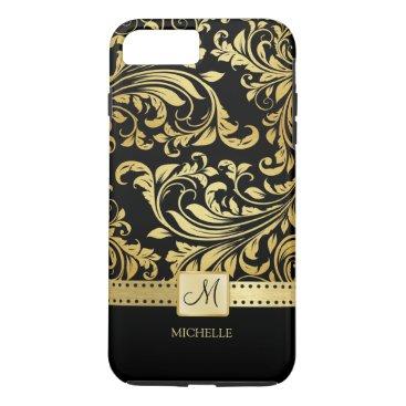 Elegant Black and Gold Damask with Monogram iPhone 8 Plus/7 Plus Case