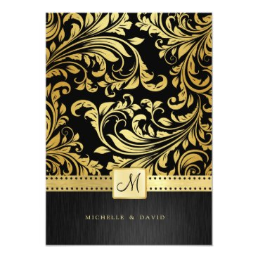 Elegant Black and Gold Floral Damask Invitation