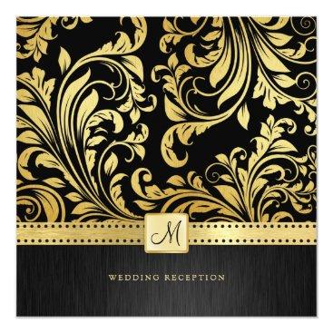 Elegant Black and Gold Floral Damask Reception Card