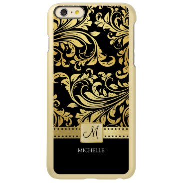 Elegant black and gold floral damask with monogram incipio feather shine iPhone 6 plus case