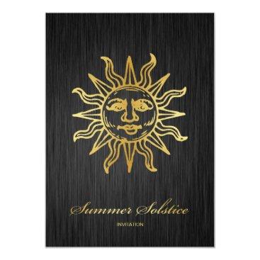 Elegant Black and Gold Metallic Summer Solstice Invitation