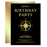 Elegant Black and Gold Nautical Compass Birthday Invitation