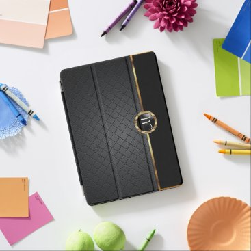 Elegant Black and Gold Pattern - Monogram iPad Pro Cover