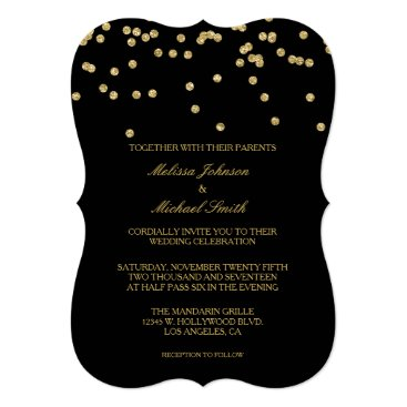 Elegant Black and Gold Polka-dots Confetti Wedding Invitation