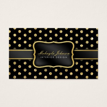 Elegant Black and gold Polkadots Pattern Business Card