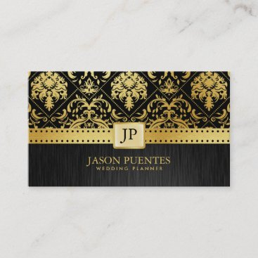 Elegant Black and Gold Wedding Planner Business Card