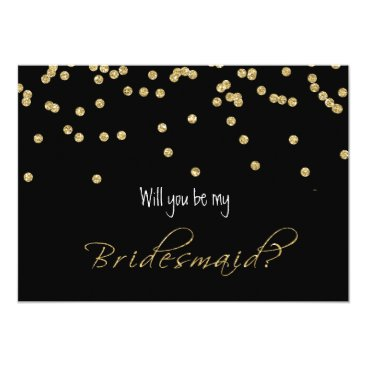 Elegant black and Gold Will you be my bridesmaid? Invitation