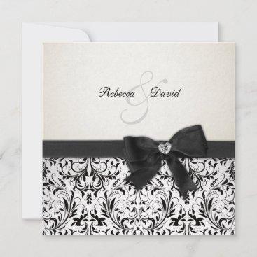 Elegant Black and Ivory Damask with diamond bow Invitation