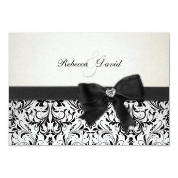 Elegant Black and Ivory Damask with diamond RSVP Card