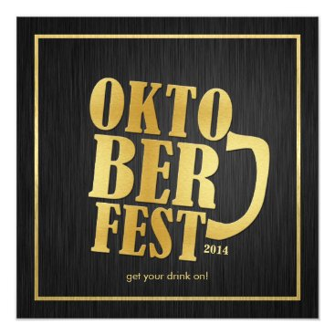 Elegant Black and Metallic Gold Oktoberfest 2014 Invitation