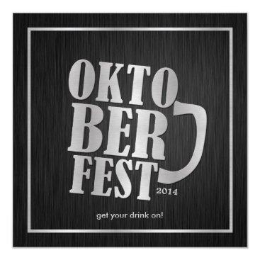 Elegant Black and Metallic Silver Oktoberfest 2014 Card