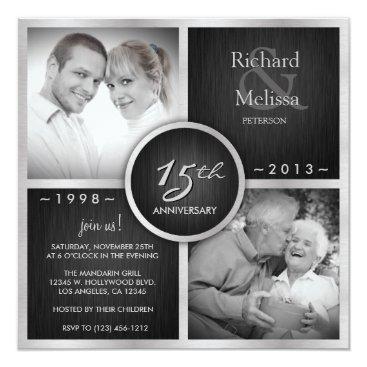 Elegant Black and Silver 15th Wedding Anniversary Card