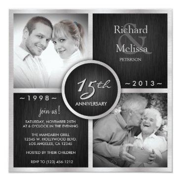 Elegant Black and Silver 15th Wedding Anniversary Invitation