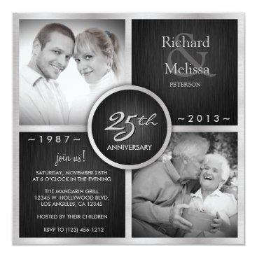 Elegant Black and Silver 25th Wedding Anniversary Invitation