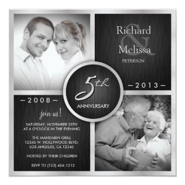 Elegant Black and Silver 5th Wedding Anniversary Invitation