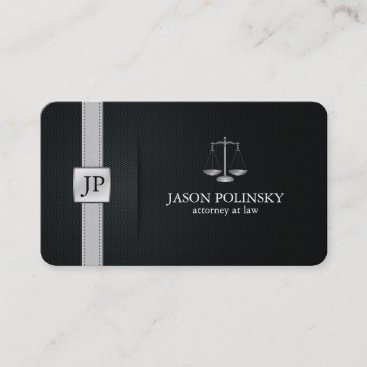 Elegant Black and Silver Attorney At Law Business Card