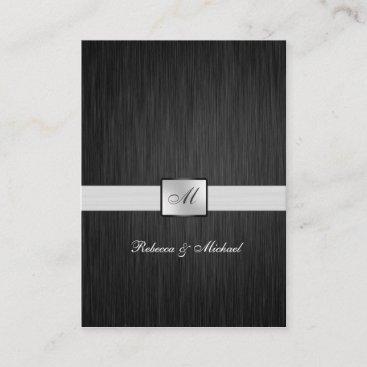 Elegant Black and Silver Monogram RSVP Cards