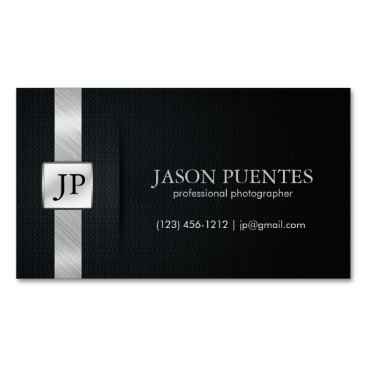Elegant Black and Silver Professional Magnetic Business Card