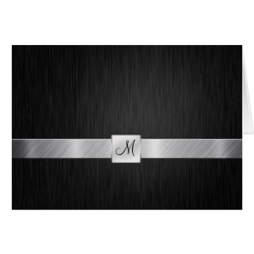 Elegant Black and Silver with Monogram Thank You Card