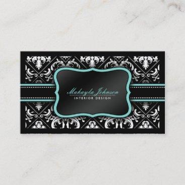 Elegant Black and White Damask Interior Design Business Card