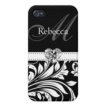 Elegant Black and White Damask  Cover For iPhone 4