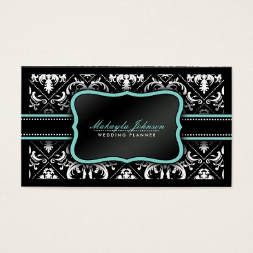 Elegant Black and White Damask Wedding Planner Business Card