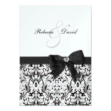 Elegant Black and White Damask with diamond bow Invitation
