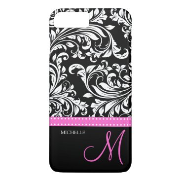 Elegant black and white Damask with Pink monogram iPhone 8 Plus/7 Plus Case