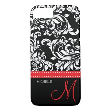 Elegant black and white Damask with red monogram iPhone 7 Case