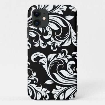 Elegant Black and white floral damask iPhone 11 Case