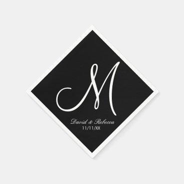 Elegant black and white Monogram Paper Napkins